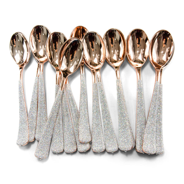 SHIPS FREE** 24pc+ Rose Gold Spoons - Holographic Glitter - Decorative Silverware, Disposable Tableware,  Rainbow Utensils, Iridescent Decor