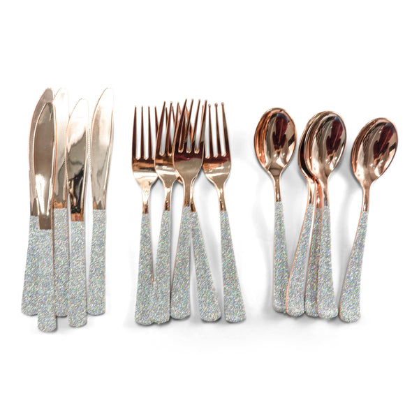 SHIPS FREE** 24pc+ Rose Gold Forks - Holographic Glitter - Decorative Silverware, Disposable Tableware,  Rainbow Utensils, Iridescent Decor