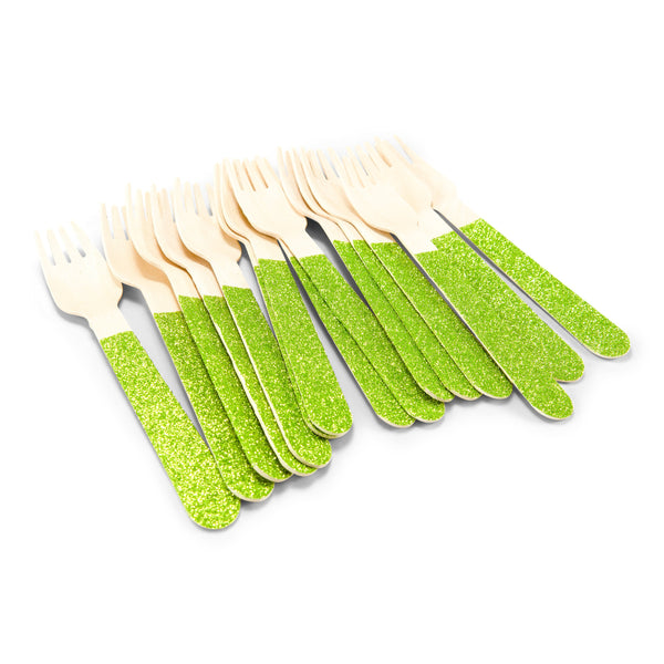 SHIPS FREE** 24pc+ Wood Glitter Forks - Lime Green Glitter - Decorative Silverware, Disposable Tableware, Wooden Utensils, Tropical Decor