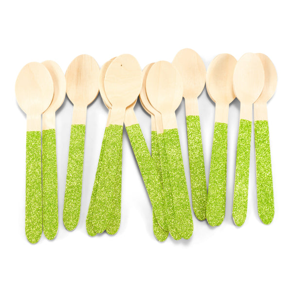 SHIPS FREE** 24pc+ Wood Glitter Spoons - Lime Green Glitter - Decorative Silverware, Disposable Tableware, Wooden Utensils, Tropical Decor
