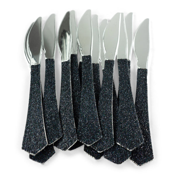 Black Glittered Silver Knife, , Jamboree