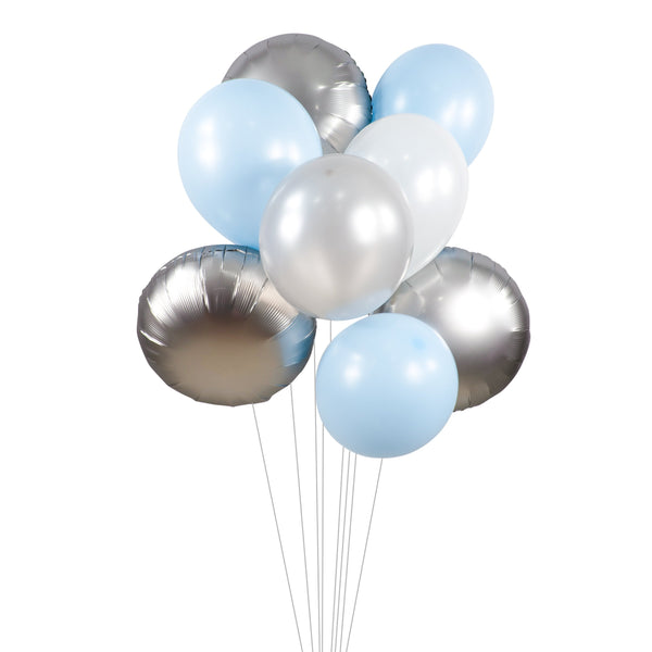"Balloon Cluster - Blue White Silver Giant Balloons-  ""Winter Blues"" XL Party Prop, Baby Shower, Its a Boy, Winter Wonderland, Gender Reveal, , Jamboree Party Box, Jamboree"