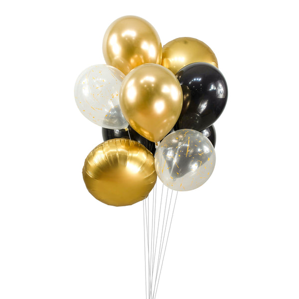 "Balloon Cluster - Black Gold Champagne Giant Balloons- ""Midnight Glam"" XL Party Prop, Anniversary, Wedding Table Decor, Graduation Balloons, , Jamboree Party Box, Jamboree"