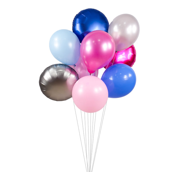 "Balloon Cluster - Pink Navy White Silver Giant Balloons-""Gender Reveal"" XL Party Prop, Bridal/Baby Shower, Princess Birthday,Girl Smash Cake, , Jamboree Party Box, Jamboree"