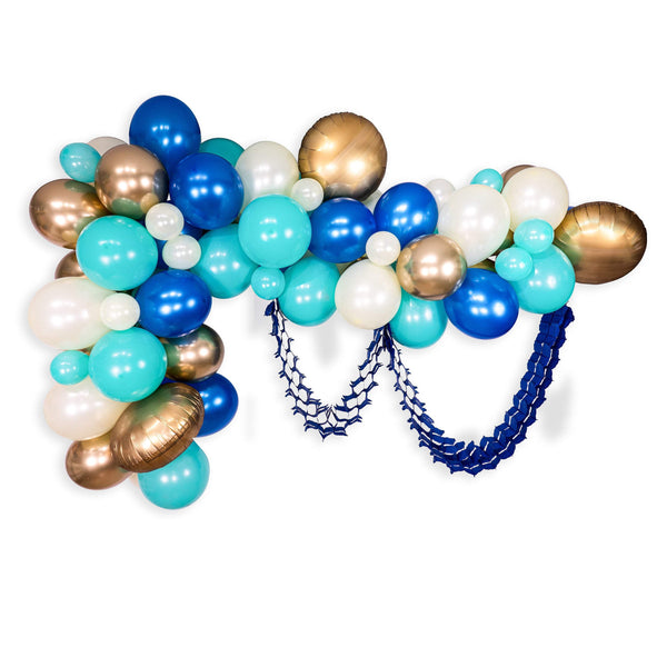 "Giant Balloon Garland Kit - Royal Blue Gold Mint Cream Champagne Giant Balloon Arch - ""Coastal Cruiser"" XL Party Prop, Its a Boy, Wild One"
