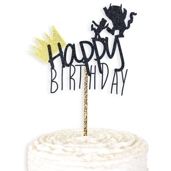 Where the Wild Things Are Cake Topper - Black Gold - Cake Decoration - Birthday Party Decor,  First, 1st, Wild One Theme, Food Decor