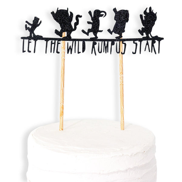 Where the Wild Things Are Cake Topper - Black - Cake Decoration - Birthday Party Decor,  First, 1st, Wild One Theme, Food Decor, Wild Rumpus