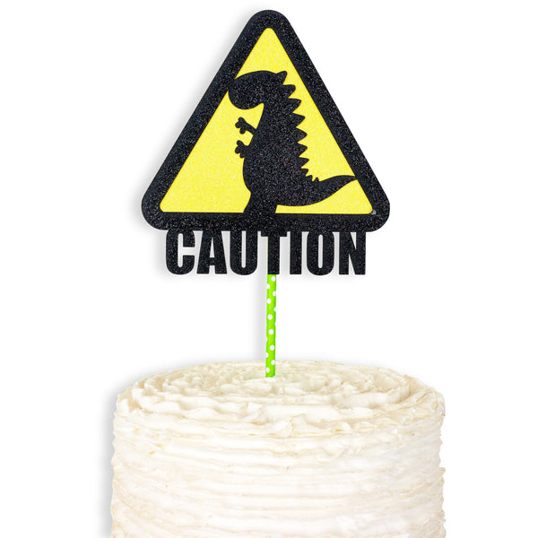 Dinosaur Cake Topper - Black Yellow Green - Cake Decoration - Birthday Party Decor,  First, 1st, Dinosaur Theme, Food Decor, Caution