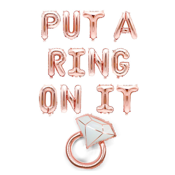 "Rose Gold ""Put a Ring On It""  Balloon Banner - 16"" Letter Balloons - Rose Gold - Bachelorette Bash, Diamond, Engagement Party, Bridal Shower, , Jamboree"