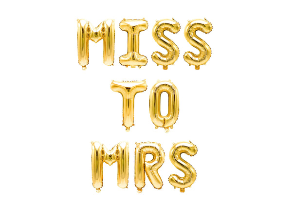 "Gold ""Miss to Mrs"" Balloon Banner - 16"" Letter Balloons - Gold - Bridal Shower, Bachelorette Bash, Wedding Party, Diamond Ring, Engagement, , Jamboree"