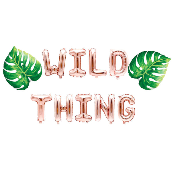 "Rose Gold ""Wild Thing"" Balloon Banner - 16"" Letter Balloons- Rose Gold - Wild One Birthday, Bachelorette Bash, Jungle Theme, Smash Cake Prop, , Jamboree"