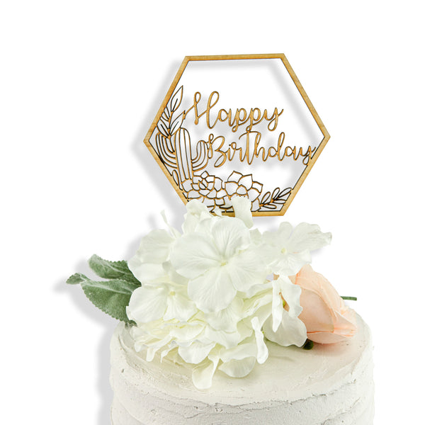 Happy Birthday BOHO Wood Cake Topper, , Jamboree