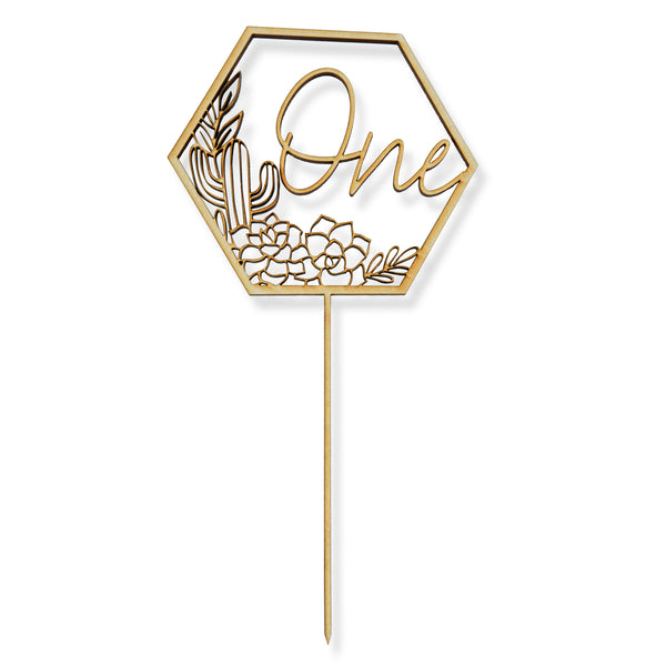 One Script Cactus Wood Cake Topper, , Jamboree
