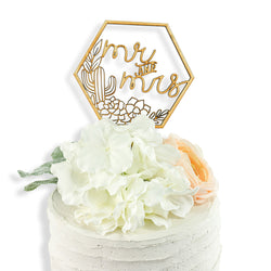 Mr. and Mrs. Script Cactus Wood Cake Topper, , Jamboree