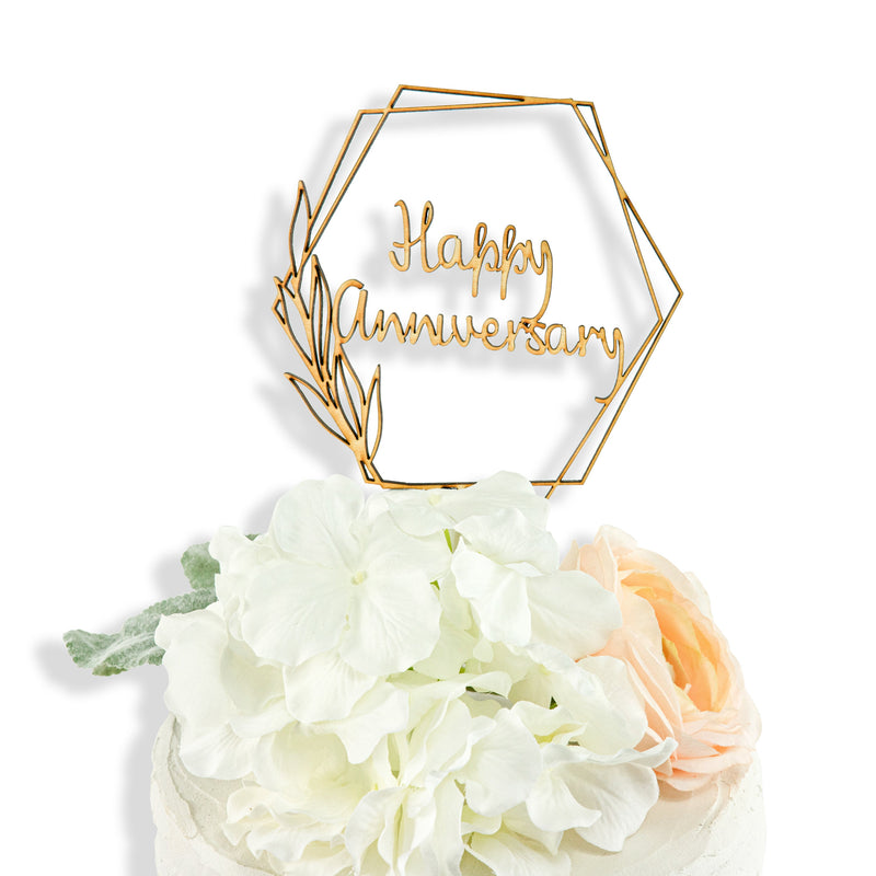 Happy Anniversary Script Wood Cake Topper, , Jamboree