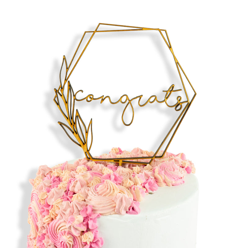 Congrats Boho Geometric Wood Cake Topper, , Jamboree