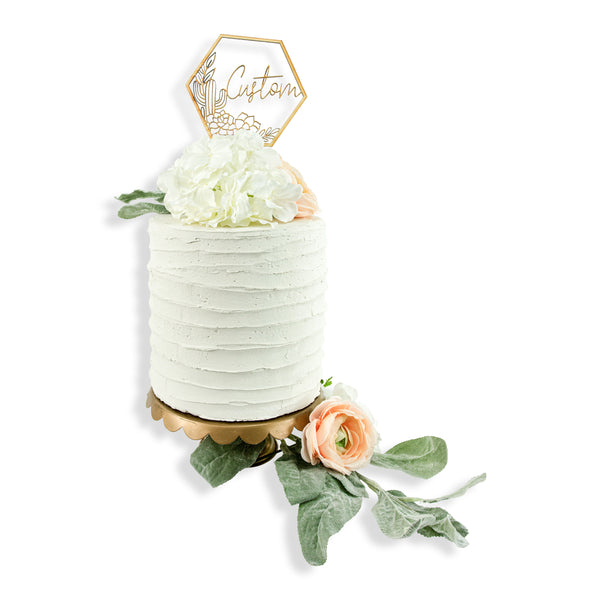 Custom  Script Cactus Wood Cake Topper, , Jamboree