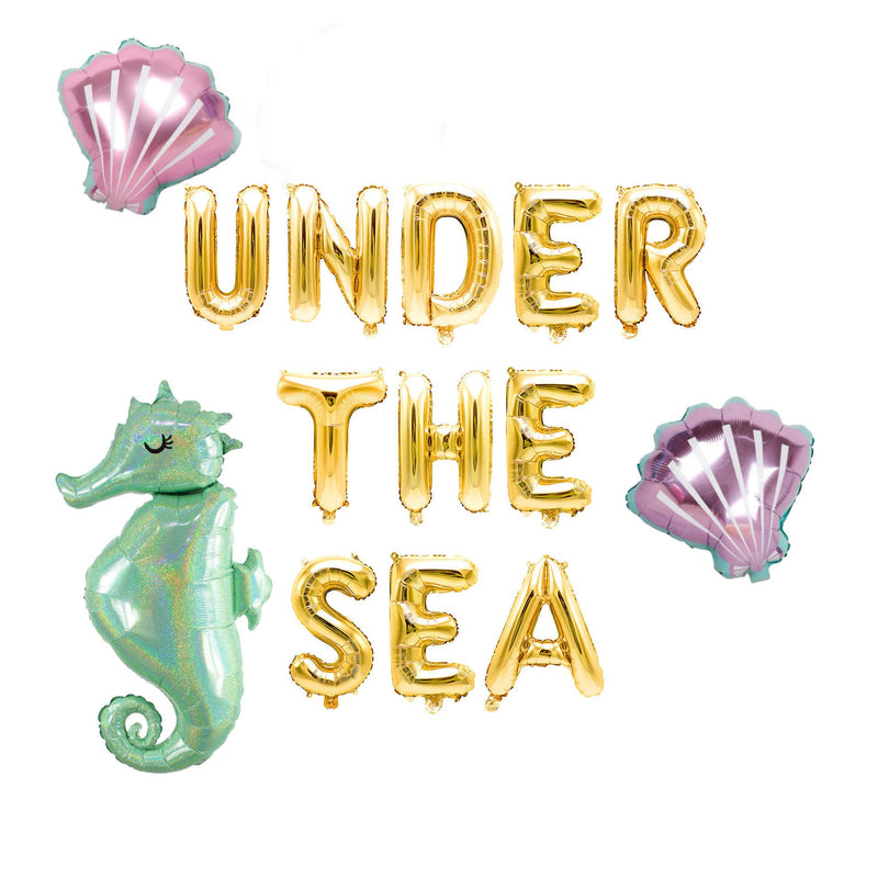"Rose Gold ""Under the Sea"" Balloon Banner - 16"" Letter Balloons - Rose Gold - Mermaid Theme Birthday, Nautical Party Backdrop, Little Mermaid, , Jamboree"