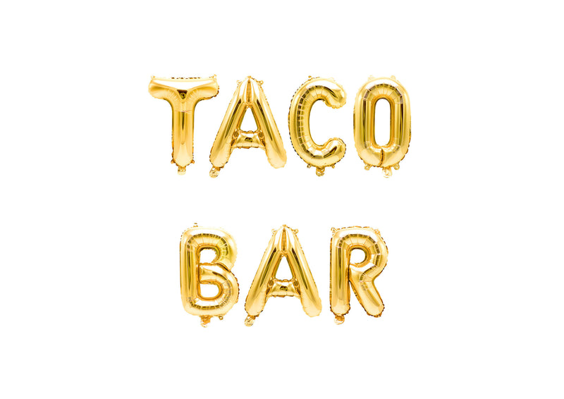 "Gold ""Taco Bar"" Balloon Banner - 16"" Letter Balloons - Gold - Fiesta party Decor, Food Table Banner, Cinco De Mayo, Llama Theme, Cactus, , Jamboree"