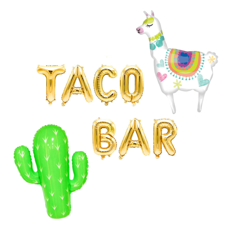 "Rose Gold ""Taco Bar"" Balloon Banner - 16"" Letter Balloons - Rose Gold - Fiesta Decor, Food Table Banner, Cinco De Mayo, Llama Theme, Cactus, , Jamboree"