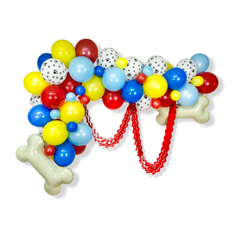 "Balloon Garland Kit - Red Blue Yellow Giant Balloon Arch -""Paw Patrol"" XL Party Prop, Dog Theme Banner, Dog Bone, Paw Patrol Birthday"