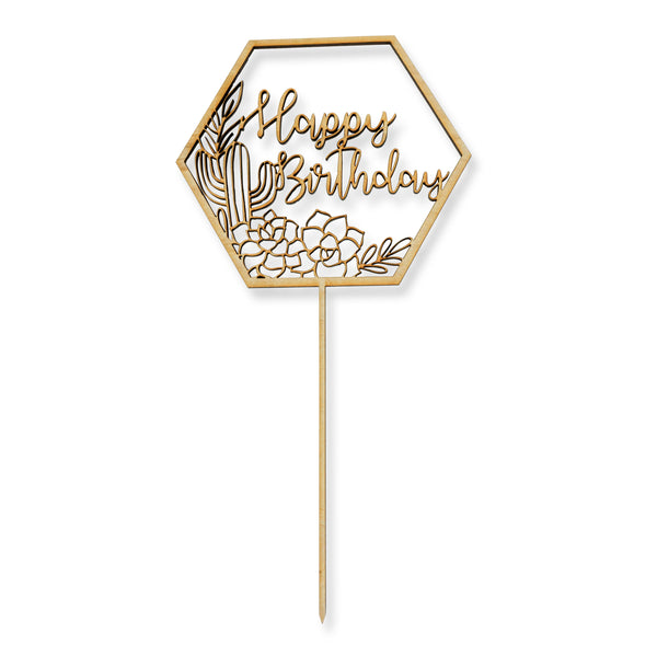Happy Birthday Script Cactus Wood Cake Topper, , Jamboree
