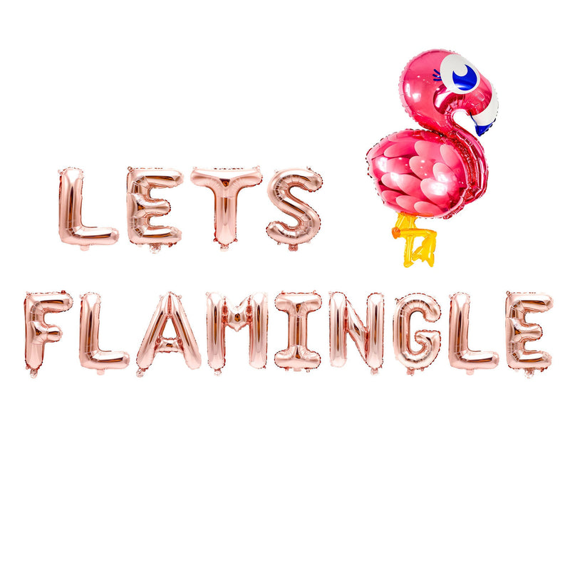 "Rose Gold ""Lets Flamingle"" Balloon Banner - 16"" Letter Balloons - Rose Gold - Bachelorette Bash, Flamingo Party, Tropical, Final Flamingle, , Jamboree"