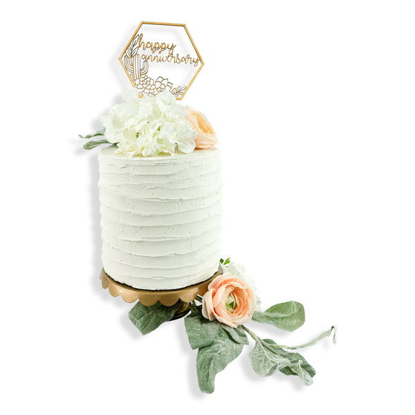 Happy Anniversary Boho Succulent Wood Cake Topper, , Jamboree