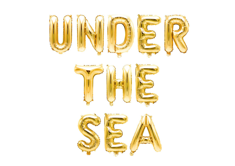 "Gold ""Under the Sea"" Balloon Banner - 16"" Letter Balloons - Gold - Mermaid Theme Birthday, Nautical Party Backdrop, Little Mermaid Party, , Jamboree"