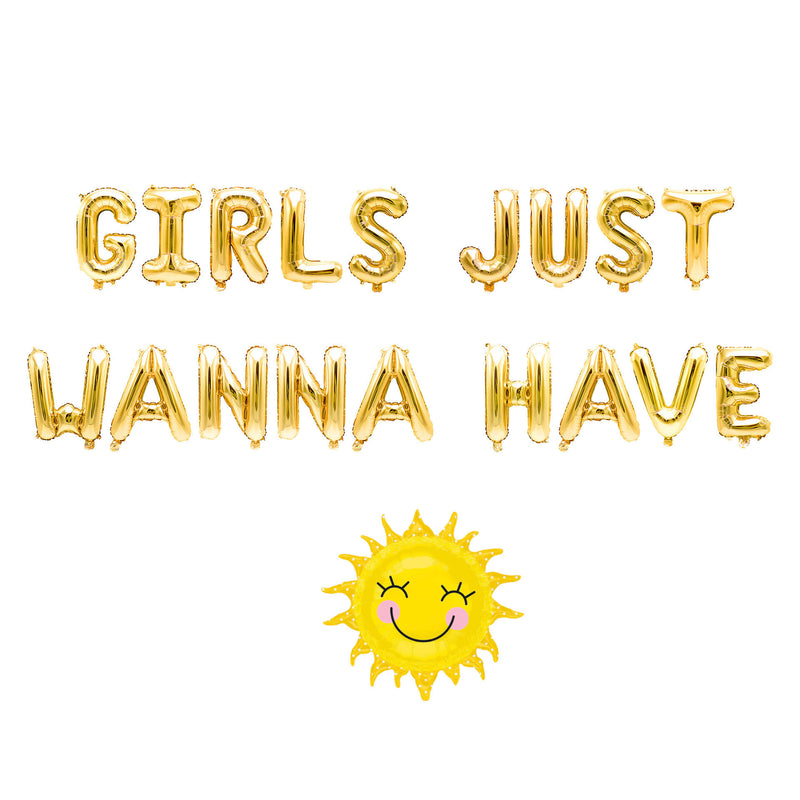 "Gold ""Girls Just Wanna Have Sun"" Balloon Banner - 16"" Letter Balloons - Gold - Bachelorette Bash, Tropical Girls Party, Summer Birthday, , Jamboree"