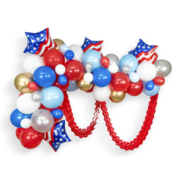 "Giant Balloon Garland Kit - Red White Blue Giant Balloon Arch -""Evening Sparklers"" XL Party Prop, Election Party 4th of July, Presidents Day"