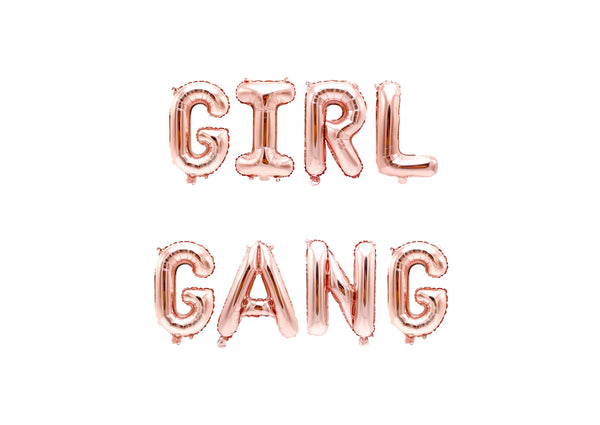 "Rose Gold ""Girl Gang"" Balloon Banner - 16"" Letter Balloons - Rose Gold - Bridal Party, Bachelorette Bash, Its a Girl Decor, Sweet 16, , Jamboree"