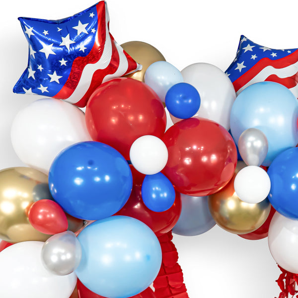 USA Party Patriotic Balloons Red White and Blue Balloons Red White and Two Red White and Blue Balloon Garland Patriotic Balloon Garland