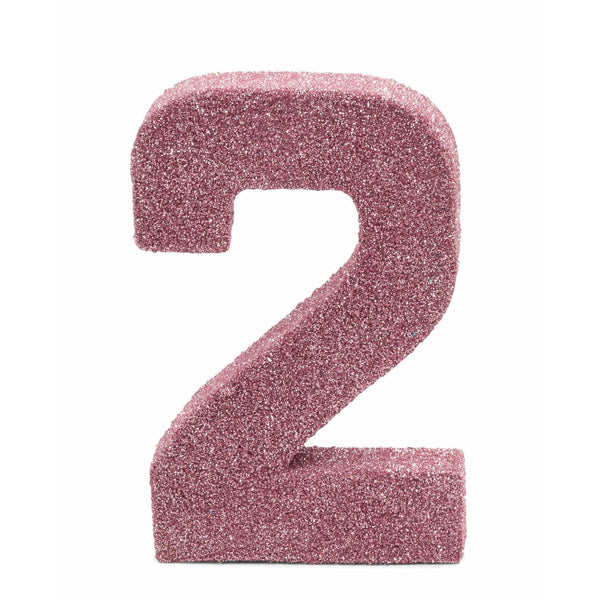 "8"" Blush Pink Glitter Number 2, Large Glitter Numbers, Jamboree Party Box, Jamboree"