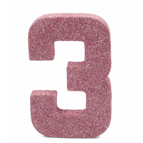 "8"" Blush Pink Glitter Number 3, Large Glitter Numbers, Jamboree Party Box, Jamboree"
