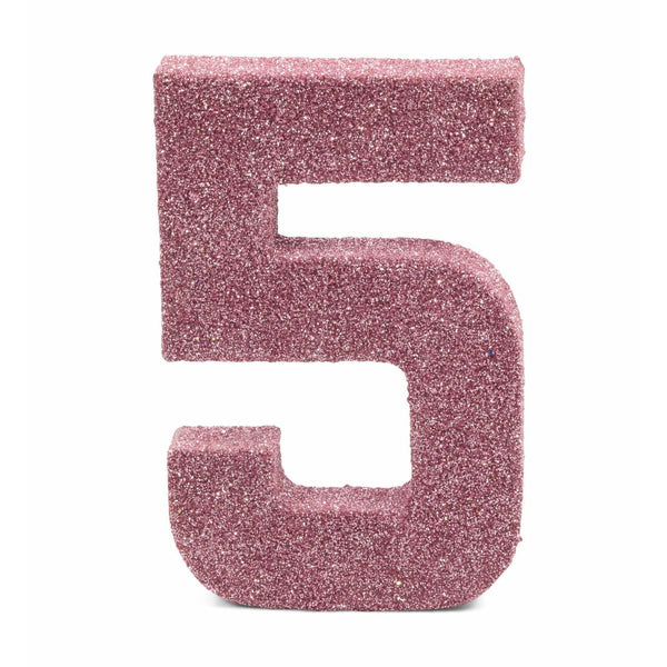 "8"" Blush Pink Glitter Number 5, Large Glitter Numbers, Jamboree Party Box, Jamboree"