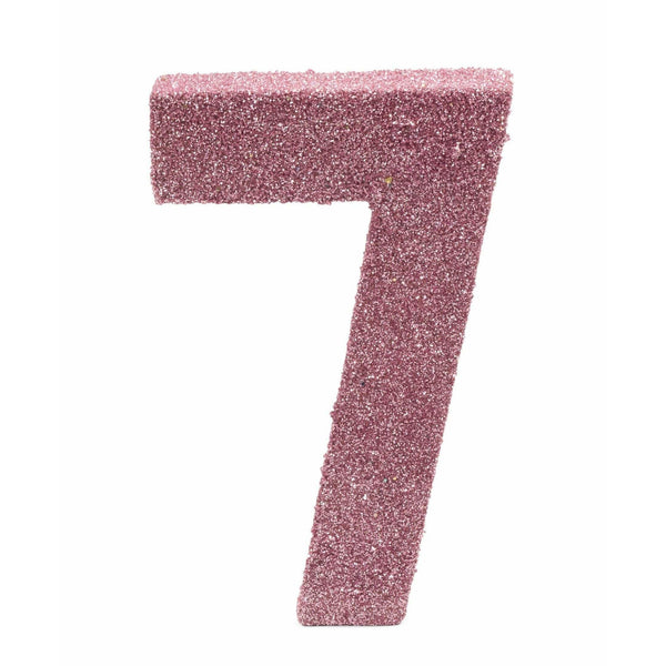 "8"" Blush Pink Glitter Number 7, Large Glitter Numbers, Jamboree Party Box, Jamboree"