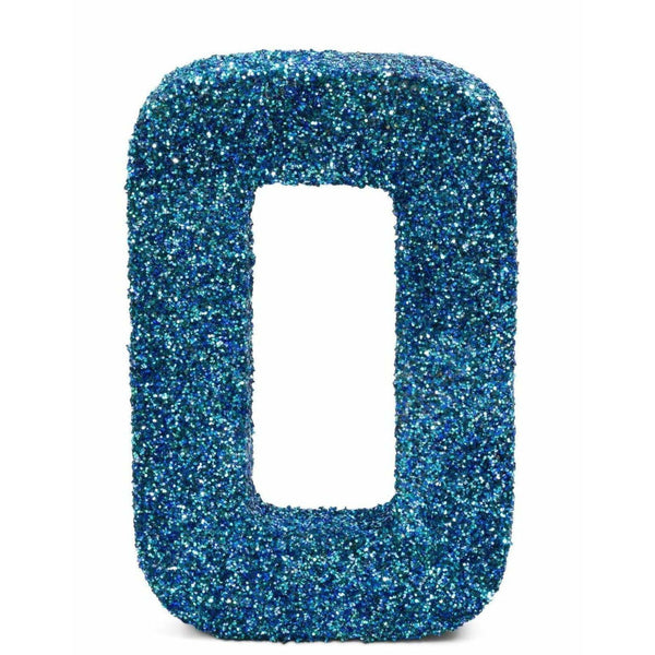 "8"" Coastal Sparkle Glitter Number 0, Large Glitter Numbers, Jamboree Party Box, Jamboree"