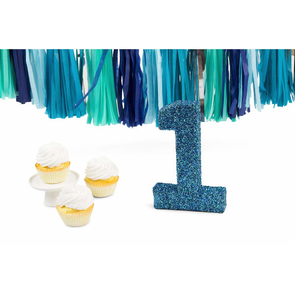 "8"" Coastal Sparkle Glitter Number 1, Large Glitter Numbers, Jamboree Party Box, Jamboree"