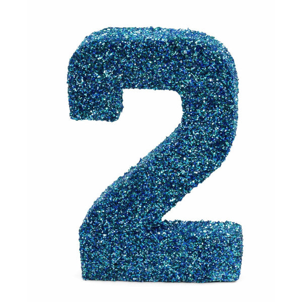 "8"" Coastal Sparkle Glitter Number 2, Large Glitter Numbers, Jamboree Party Box, Jamboree"