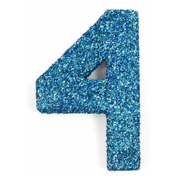 "8"" Coastal Sparkle Glitter Number 4, Large Glitter Numbers, Jamboree Party Box, Jamboree"