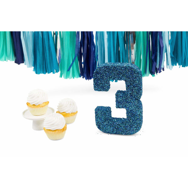 "8"" Coastal Sparkle Glitter Number 3, Large Glitter Numbers, Jamboree Party Box, Jamboree"