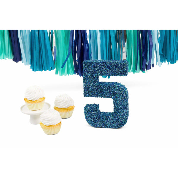 "8"" Coastal Sparkle Glitter Number 5, Large Glitter Numbers, Jamboree Party Box, Jamboree"
