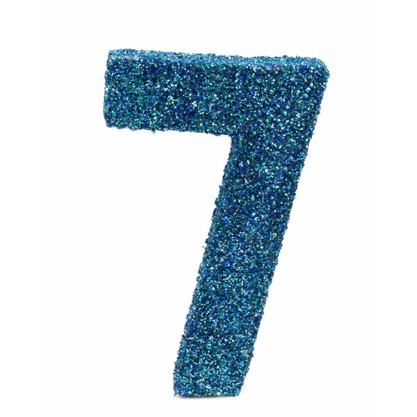 "8"" Coastal Sparkle Glitter Number 7, Large Glitter Numbers, Jamboree Party Box, Jamboree"