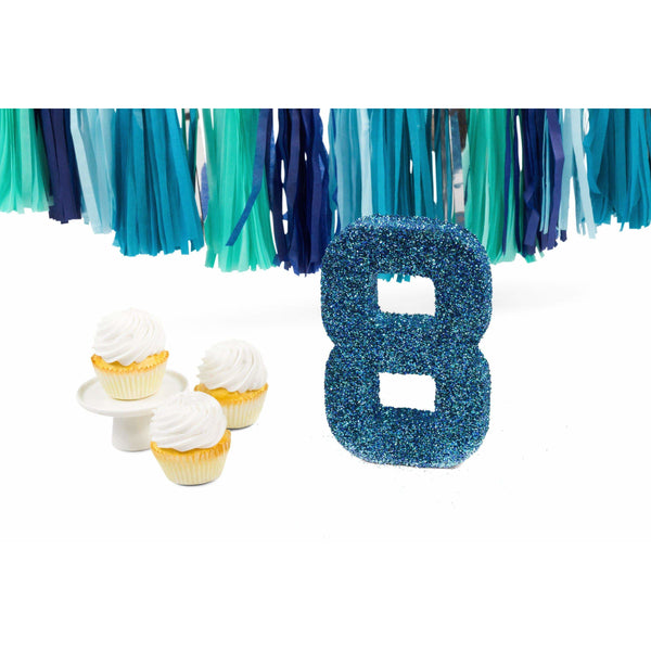 "8"" Coastal Sparkle Glitter Number 8, Large Glitter Numbers, Jamboree Party Box, Jamboree"
