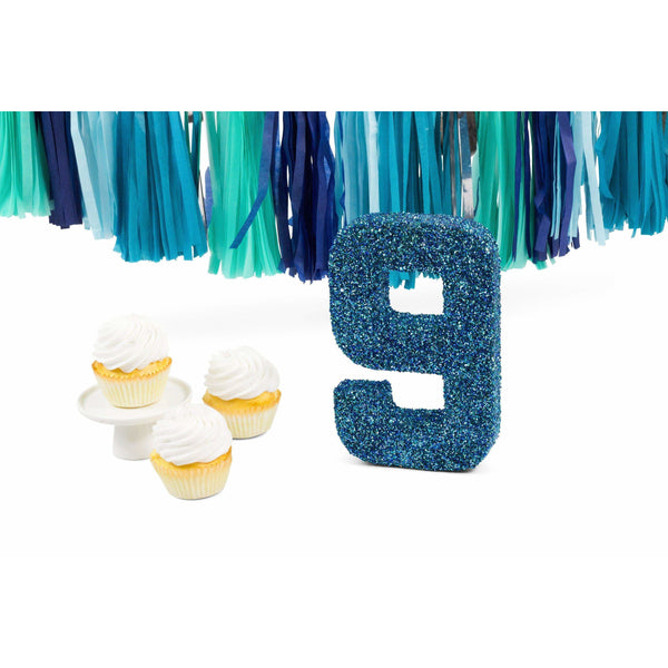 "8"" Coastal Sparkle Glitter Number 9, Large Glitter Numbers, Jamboree Party Box, Jamboree"
