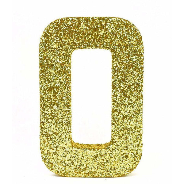 "8"" Gold Glitter Number 0, Large Glitter Numbers, Jamboree"