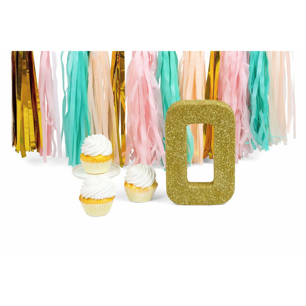 "8"" Gold Glitter Number 0, Large Glitter Numbers, Jamboree Party Box, Jamboree"