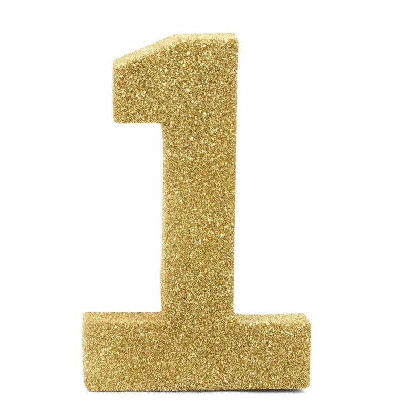 "8"" Gold Glitter Number 1, Large Glitter Numbers, Jamboree"