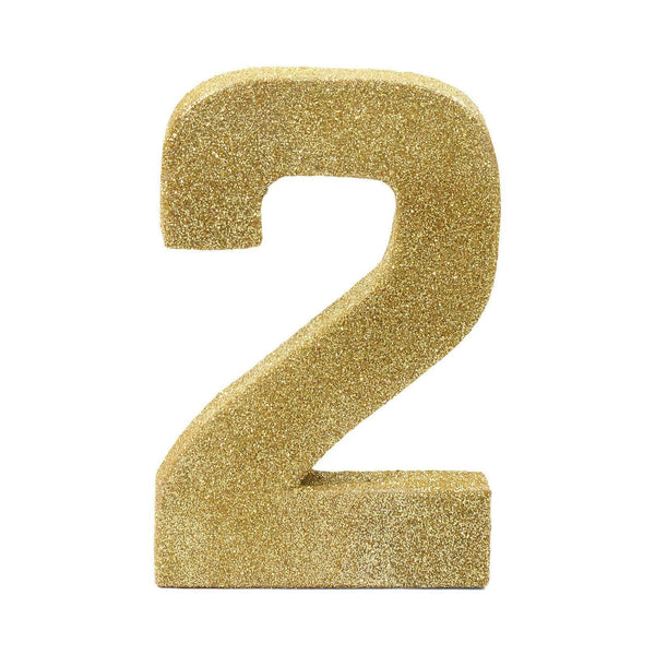 "8"" Gold Glitter Number 2, Large Glitter Numbers, Jamboree Party Box, Jamboree"